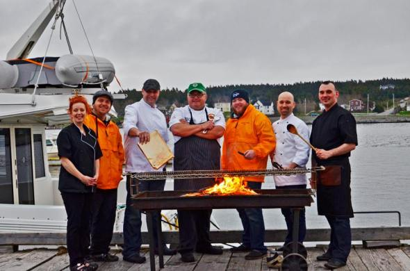 Chefs (l-r) Andrea Maunder,Darren S Hayward, Garry Gosse, Roary MacPhearson, Shaun Hussey Chris Sheppard, Roger Dewling